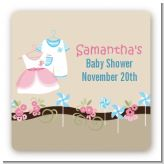 Twin Little Outfits 1 Boy and 1 Girl - Square Personalized Baby Shower Sticker Labels