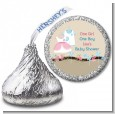 Twin Little Outfits 1 Boy and 1 Girl - Hershey Kiss Baby Shower Sticker Labels thumbnail