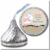 Twin Little Outfits 1 Boy and 1 Girl - Hershey Kiss Baby Shower Sticker Labels