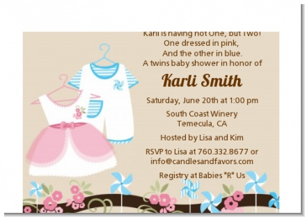 Twin Little Outfits 1 Boy and 1 Girl - Baby Shower Petite Invitations