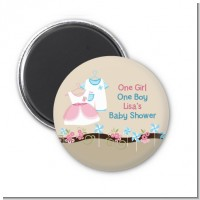 Twin Little Outfits 1 Boy and 1 Girl - Personalized Baby Shower Magnet Favors