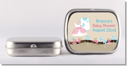 Twin Little Outfits 1 Boy and 1 Girl - Personalized Baby Shower Mint Tins