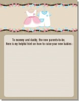 Twin Little Outfits 1 Boy and 1 Girl - Baby Shower Notes of Advice