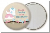 Twin Little Outfits 1 Boy and 1 Girl - Personalized Baby Shower Pocket Mirror Favors