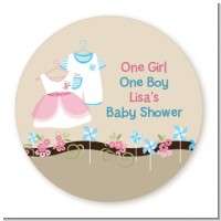 Twin Little Outfits 1 Boy and 1 Girl - Round Personalized Baby Shower Sticker Labels