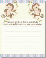 Twin Monkey 1 Girl and 1 Boy - Baby Shower Notes of Advice