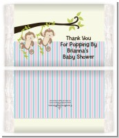 Twin Monkey 1 Girl and 1 Boy - Personalized Popcorn Wrapper Baby Shower Favors