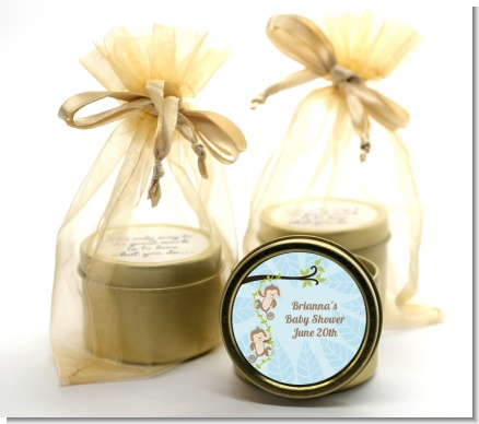 Twin Monkey Boys - Baby Shower Gold Tin Candle Favors