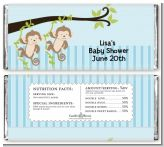 Twin Monkey Boys - Personalized Baby Shower Candy Bar Wrappers