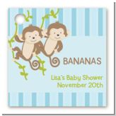 Twin Monkey Boys - Personalized Baby Shower Card Stock Favor Tags