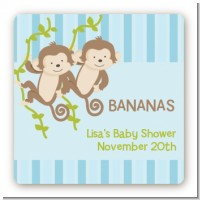 Twin Monkey Boys - Square Personalized Baby Shower Sticker Labels