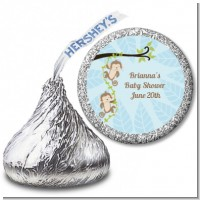 Twin Monkey Boys - Hershey Kiss Baby Shower Sticker Labels