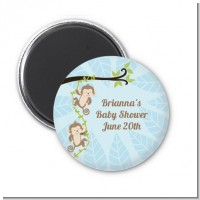 Twin Monkey Boys - Personalized Baby Shower Magnet Favors