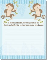 Twin Monkey Boys - Baby Shower Notes of Advice