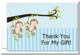 Twin Monkey Boys - Baby Shower Thank You Cards