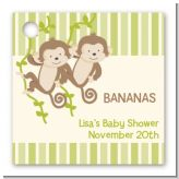 Twin Monkey - Personalized Baby Shower Card Stock Favor Tags