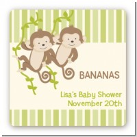 Twin Monkey - Square Personalized Baby Shower Sticker Labels