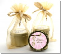 Twin Monkey Girls - Baby Shower Gold Tin Candle Favors
