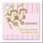 Twin Monkey Girls - Personalized Baby Shower Card Stock Favor Tags