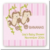 Twin Monkey Girls - Square Personalized Baby Shower Sticker Labels