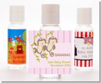 Twin Monkey Girls - Personalized Baby Shower Hand Sanitizers Favors