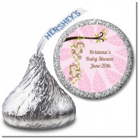 Twin Monkey Girls - Hershey Kiss Baby Shower Sticker Labels