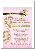 Twin Monkey Girls - Baby Shower Petite Invitations