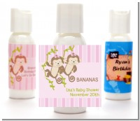 Twin Monkey Girls - Personalized Baby Shower Lotion Favors