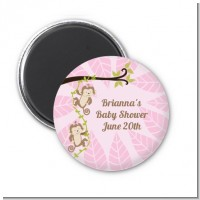 Twin Monkey Girls - Personalized Baby Shower Magnet Favors