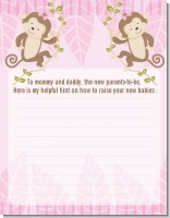 Twin Monkey Girls - Baby Shower Notes of Advice