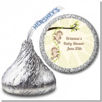 Twin Monkey - Hershey Kiss Baby Shower Sticker Labels