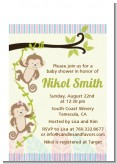 Twin Monkey - Baby Shower Petite Invitations
