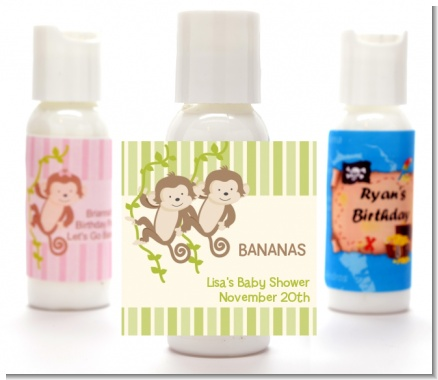 Twin Monkey - Personalized Baby Shower Lotion Favors