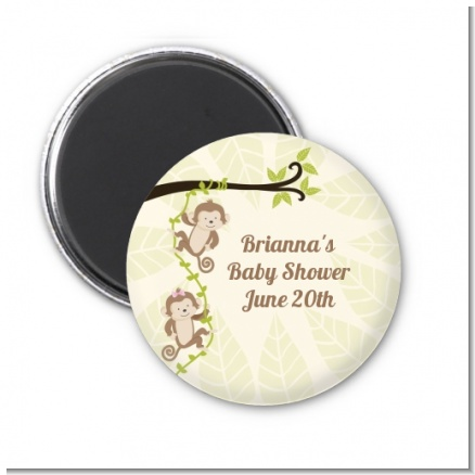 Twin Monkey - Personalized Baby Shower Magnet Favors