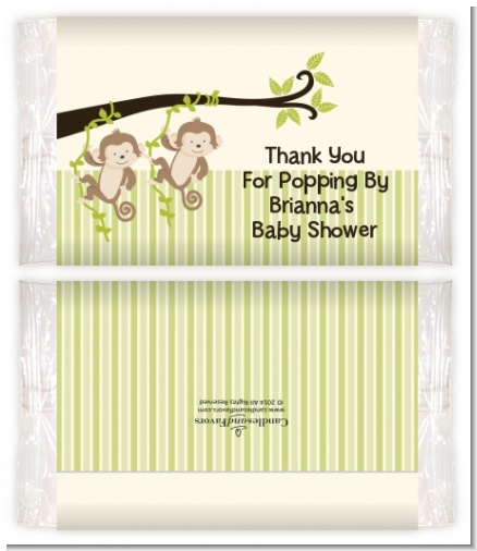 Twin Monkey - Personalized Popcorn Wrapper Baby Shower Favors