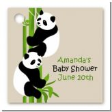 Twin Pandas - Personalized Baby Shower Card Stock Favor Tags