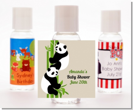 Twin Pandas - Personalized Baby Shower Hand Sanitizers Favors