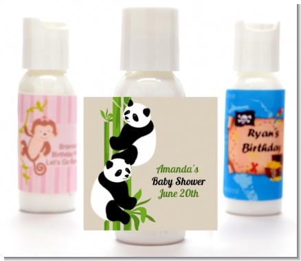 Twin Pandas - Personalized Baby Shower Lotion Favors