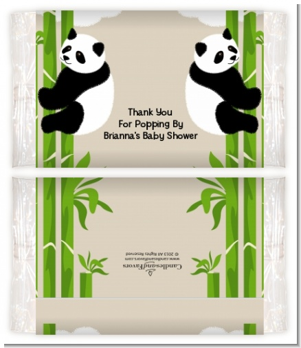 Twin Pandas - Personalized Popcorn Wrapper Baby Shower Favors