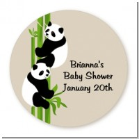 Twin Pandas - Round Personalized Baby Shower Sticker Labels