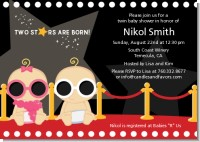 Twin Stars Are Born Hollywood - Baby Shower Invitations