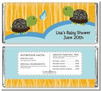 Twin Turtle Boys - Personalized Baby Shower Candy Bar Wrappers