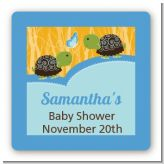 Twin Turtle Boys - Square Personalized Baby Shower Sticker Labels