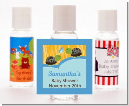 Twin Turtle Boys - Personalized Baby Shower Hand Sanitizers Favors