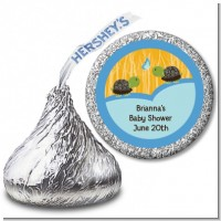 Twin Turtle Boys - Hershey Kiss Baby Shower Sticker Labels