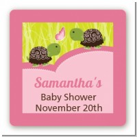 Twin Turtle Girls - Square Personalized Baby Shower Sticker Labels