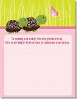 Twin Turtle Girls - Baby Shower Notes of Advice