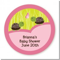 Twin Turtle Girls - Round Personalized Baby Shower Sticker Labels
