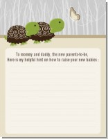 Twin Turtles - Baby Shower Notes of Advice