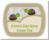 Twin Turtles - Personalized Baby Shower Rounded Corner Stickers